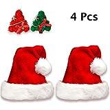 Jonami 2 Gorros de Papa Noel + 2 Pinzas de Pelo, Gorro Navideño y Sombreros de Santa Claus Tradicionales Rojos y Blanco + 2 Clips de Pelo. Accesorios de Navidad para Regalos de Festividad