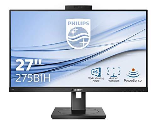 Philips 275B1H 68 cm (27 Zoll) Monitor (DVI, HDMI, DisplayPort, USB Hub, 4ms Reaktionszeit, 2560x1440, 75 Hz, FreeSync, Webcam) schwarz