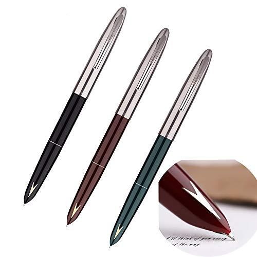 3 PCS Genuine Hero 329 Fountain Pen Fine Nib,Gold Arrow Pattern, Stainless Steel Cap