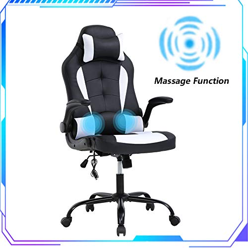 Computer Chair PC Gaming Chair w/Lumbar Massager Support - Adjustable High-Back PU Leather Office Desk Chair w/Headrest & Flip-up Armrests Swivel Video Game E-Sports Chair for Kids Teens Adults(White) chairs Desk Dining Features Home Kitchen Office