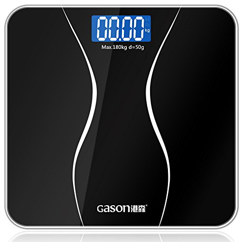GASON A2 Báscula de Baño Digital de Alta Medición Precisa,28st/180kg/400lb,Dos AAA Incluidos,Vidrio Templado, Pantalla LCD, Auto Encendido / Apagado, Elegante Negro