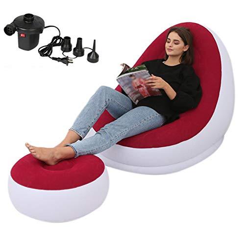 Sofa Hinchable Colchón De Aire Inflable Sofá Perezoso Tumbona Cómoda Taburete para Las Piernas Resto Puf Individual para Uso Doméstico Y Al Aire Libre