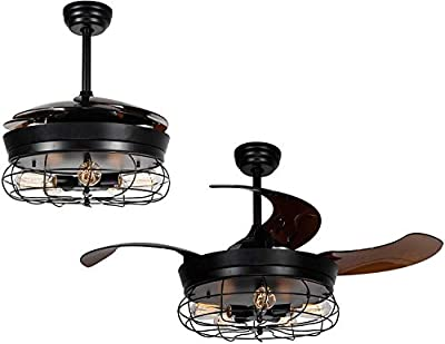 """42"""" Industrial Ceiling Fan with Lights Retractable Blades Vintage Cage Chandelier Fan with Remote Invisible Fan Fandelier Indoor For Bedroom Living Room Farmhouse 5 Edison Bulbs Not Included (Black)"""