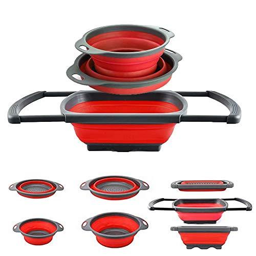 Collapsible Colander Silicone Colander Strainer Over The Sink VegetableFruit Space-Saver Folding Strainer for Kitchen 2 Qt 4 Qt 6 Qt Red