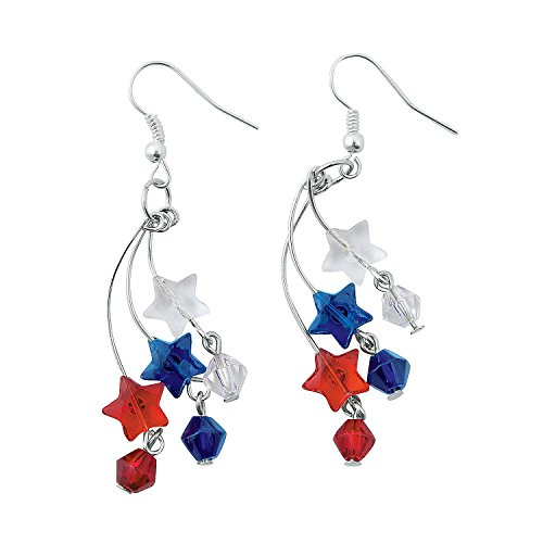 Fun Express - Patriotic Firework Earring Craft Kit for Fourth of July - Craft Kits - Adult Jewelry...