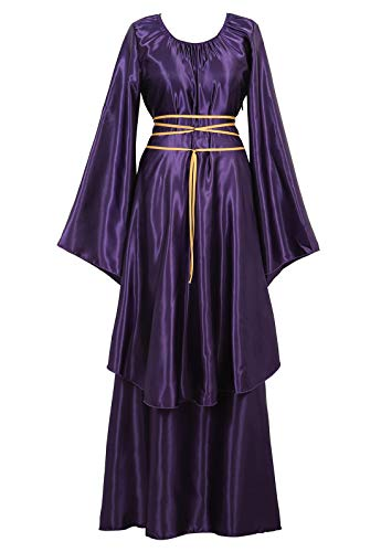 Renaissance Costume Women Plus Size Medieval Dress Halloween Costumes Gothic Gown Purple-S