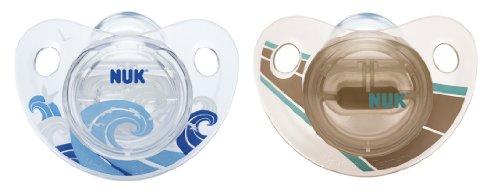 NUK 10175082 Silikon Beruhigungssauger, Schnuller, Trendline ohne Ring, Größe 1, 0-6 Monate, BPA-frei, 2 Stück, blau/dunkelblau