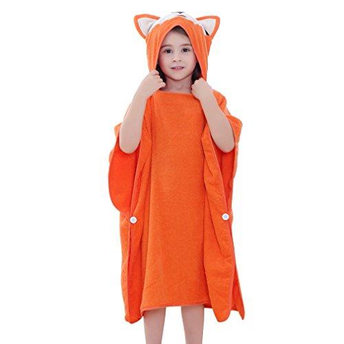 MICHLEY Kapuzen babydecke handtuch Kinder Bade Poncho Mädchen Bademantel Baumwolle Tier Badetücher für 2-6 Jahre(Fuchs), 70x70cm