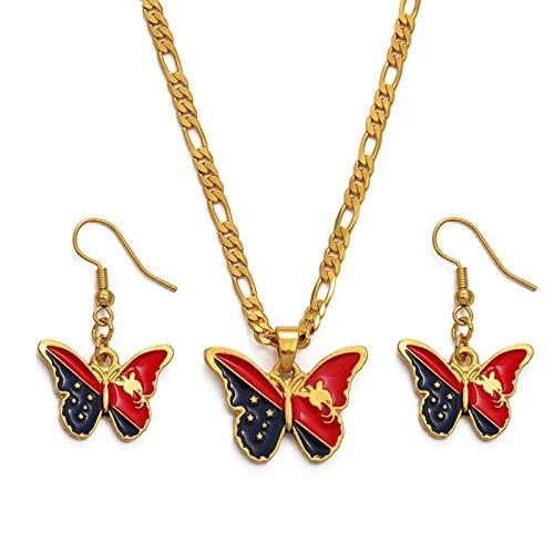 DSHT Papua Nuova Guinea Flag Women National Png Accessori Butterfly Butterfly Pendant Necklace Set # 121016