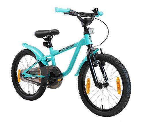 LÖWENRAD Kinderfahrrad für Jungen und Mädchen ab 5 Jahre | 18 Zoll Kinderrad mit Bremse | Fahrrad für Kinder | Mint