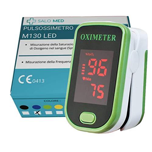 SALO MED - Pulsoximeter für die Fingerspitze, Blutsauerstoffsättigung Messer für Pulsfrequenz, Herzfrequenzmesser und SpO2-Werte mit LED-Bildschirmanzeige und Batterien (GRÜN)