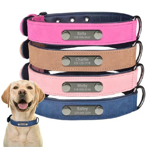 Kvaque Collar de piel para perro con placa de identificación personalizada con láser para cachorros, pequeños, medianos y grandes