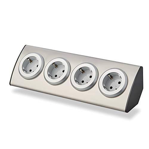Steckdose für Küche und Büro – 4-fach Ecksteckdose aus Edelstahl für Arbeitsplatte, Tischsteckdose, Unterbausteckdose, Küchensteckdose, Steckdosenleiste Mehrfachsteckdose