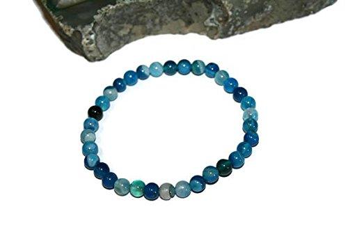 LOVEKUSH Pulsera de ágata azul natural elástica de 6 mm, redonda, lisa, 17,78 cm, para hombres, mujeres, gf, bf y adultos.