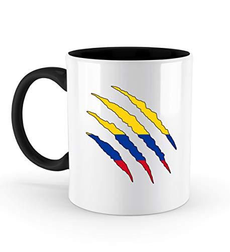PlimPlom Kolumbien Tasse Land Flagge Design Kaffeetasse Spaßgeschenk Spruch Geschenk Idee - Zweifarbige Tasse -330ml-Schwarz