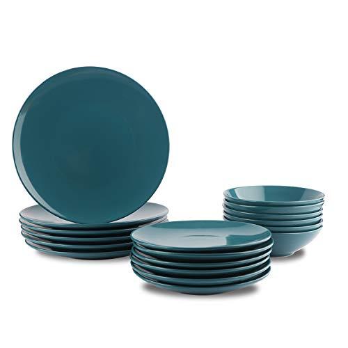 AmazonBasics Service de table 18 pièces en grès, pour 6 personnes, Bleu sarcelle foncé