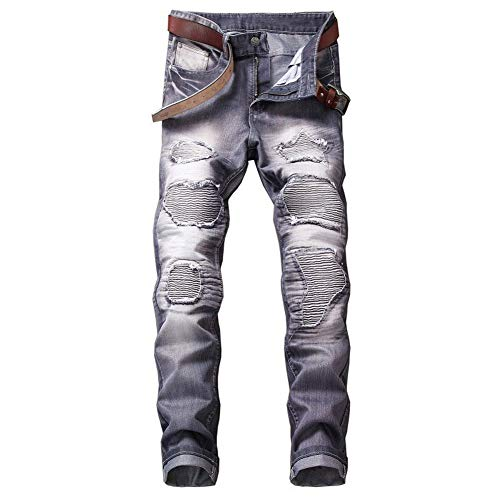 GuoCu Pantalones Vaqueros de Motocicleta Hombre,Vintage Pantalones Moto Mezclilla,Tejanos para Motorista Protecciones,Jeans de Moto,Motorcycle Biker Pants Rasgados Pantalones Equitación Gris 36W