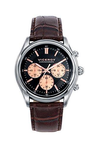 Reloj Viceroy de Hombre. Correa de piel de color marron. Esfera redonda de color negro.
