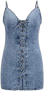 AmzBarley Women's Denim Spaghetti Strap Slim Sexy Dress V-neck Tie Casual Mini Dress