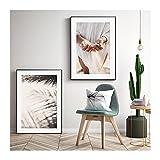 LTGBQNM Arte nórdico de la playa Imagen de la pared Arte de la pared Decoración para el hogar Pintura de lienzo Figura moderna Costa Cartel e impresión para la sala de estar Dormitorio 24x32inchx2 Sin