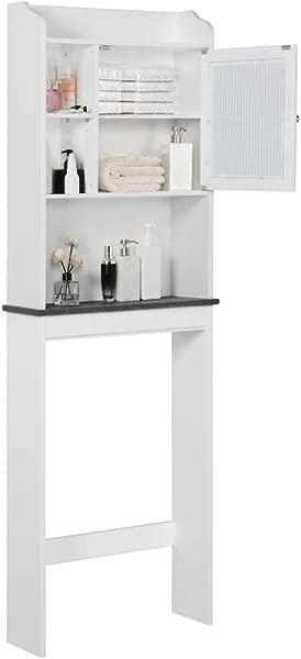 Yaheetech 浴室组织者在厕所木制现代节省空间收纳柜可调搁板和玻璃门白色