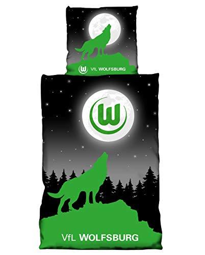 VFL Wolfsburg Bettwäsche Moon Glow in The Dark (Leuchteffekt) Bezug 135x200cm Kissen 80x80cm 100% Baumwolle (one Size) Limited Edition