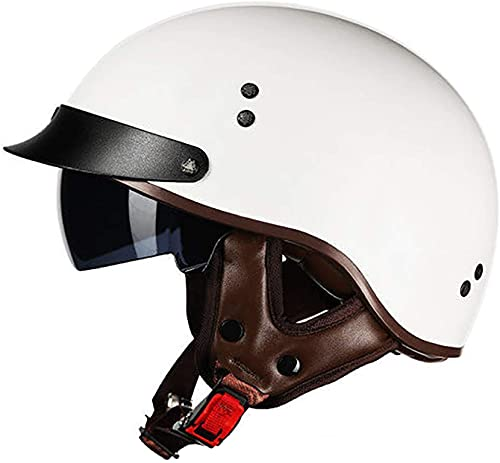 Casco De Motocicleta Con Visera,Casco Jet Para Moto Vintage Casco Medio Certificado ECE Hombres Y Mujeres Retro Seguridad Ligera Eléctrico Medio Casco Estilo Retro ( Color : G , Size : XXL = 63cm )
