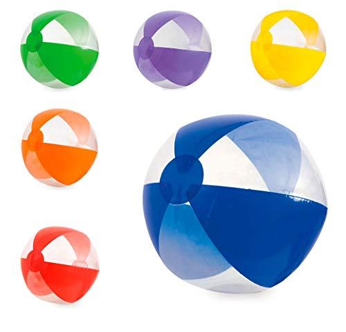 Lote 20 Unidades. Balón Hinchable gajos Colores y Transparentes para la Playa.