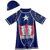 Xyh723 Niños Natación Capitán América Traje de baño Playa One Piece Swim Troncos Pantalones Cortos Set Quick Dry Beet Protection Beachwear con Gorra,Blue-XXL/125~140CM