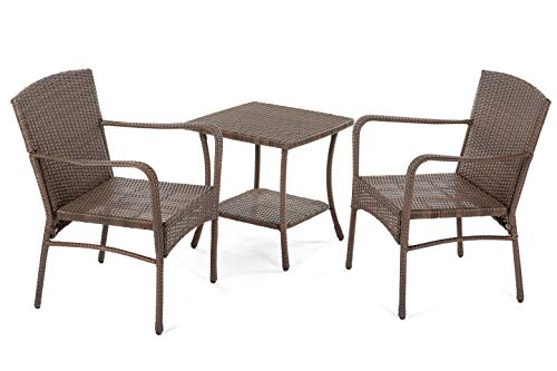 W Unlimited Leisure Collection Outdoor Garden Patio 3-PC Dining Furniture Set, Dark Brown