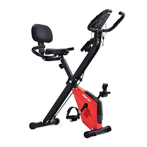 Heimtrainer Fahrrad Klappbar, Diealles Shine X-Bike Heimtrainer mit Pulssensoren, Fitnessrad für Heimtrainer, Gepolsterter Sitz und Rückenlehne - Rot