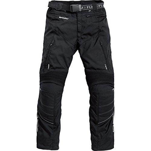 FLM Motorradhose Herren Textilhose, wasserdicht, Winddicht, Belüftungssystem, Verbindungsreißverschluss zur Jacke, Knieprotektoren (EN 1621-1) Schwarz 46