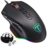 PICTEK RGB Gaming Mouse, Wired Mouse Gaming with Weight Tuning Set in the Mouse with 12000 DPI, Fire & Sniper Button, 10 Programmable Buttons