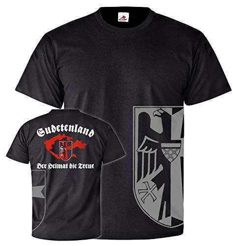 Sudetenland Der Heimat die Treue Sudeten Karte Wappen Familie T Shirt #26108, Farbe:Schwarz, Größe:XL