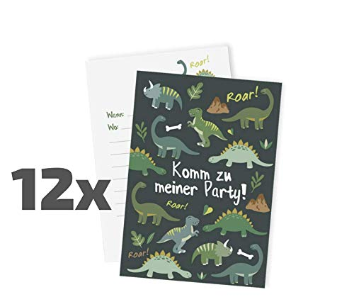Ideenverlag 12x Dinosaurier Einladungskarten zum Kindergeburtstag / Dinos / Einladungen / Grußkarten / Geburtstag / Karten
