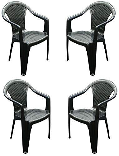 Juego de 4 sillas y brazos de ratán de plástico negro apilables para exteriores y jardín