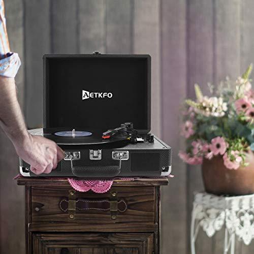 Plattenspieler , AETKFO Bluetooth Plattenspieler 3-Gang Vinyl Plattenspieler mit Lautsprecher, Unterstützung Aufnahme Vinyl, Cinch & USB Ausgang / AUX-In / Kopfhöreranschluss, Koffer Design (schwarz) - 7