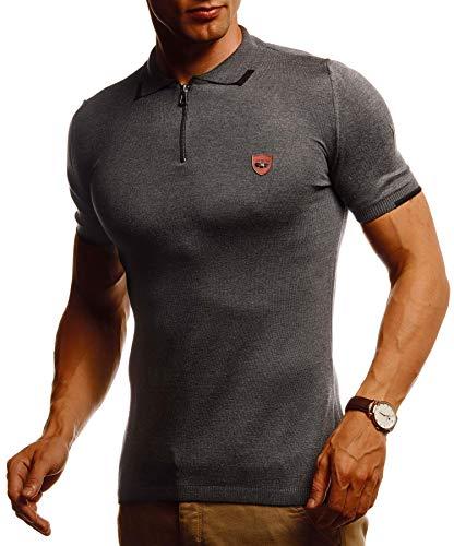 Leif Nelson Herren Sommer T-Shirt Poloshirt Slim Fit aus Feinstrick Cooles Basic Männer Polo-Shirt Crew Neck Jungen Kurzarmshirt Polo Shirt Sweater Kurzarm LN20764 Anthrazit Large