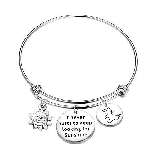 KUIYAI It Never Hurts to Keep Looking for Sunshine Bracelet Eeyore Quote Bracelet Inspiration Gift (Bracelet)