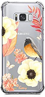 KIOMY Galaxy S8 Case, Crystal Clear Case with Design Flowers and Bird Pattern Print Bumper Protective Shock Absorption Case for Samsung Galaxy S8 Flexible Soft TPU Gel Silicone Floral Cover for Girls