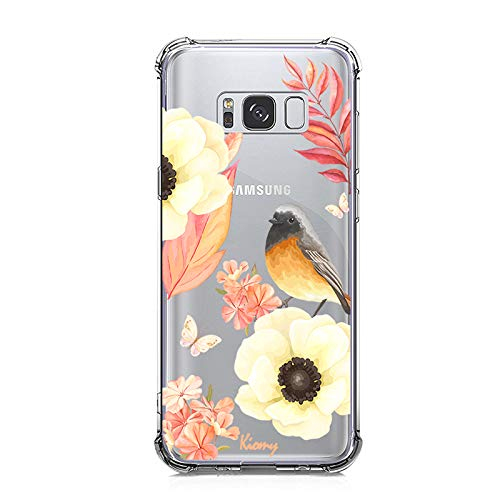 Galaxy S8 Case, KIOMY Crystal Clear Case with Design Flowers and Bird Pattern Print Bumper Protective Shock Absorption Case for Samsung Galaxy S8 Flexible Soft TPU Gel Silicone Floral Cover for Girls