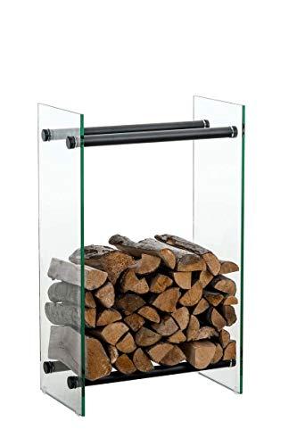 CLP Leñero De Interior Dacio Moderno I Soporte para Leña De Cristal Transparente I Estantería De Almacenamiento De Acero Inoxidable o Metal I, Color:Vidrio Transparente, Tamaño:35x40x60 cm