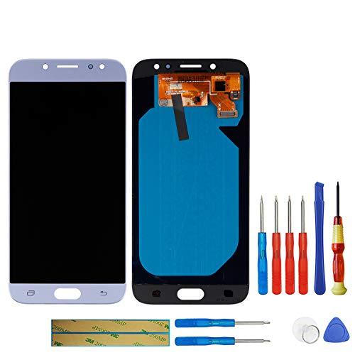 swark Super AMOLED pantalla compatible con Samsung Galaxy J7 Pro 2017 Duos J730 SM-J730 J730F J730DS J730G J730GM SM-J730FM J730K (azul sin marco) pantalla táctil LCD + herramientas