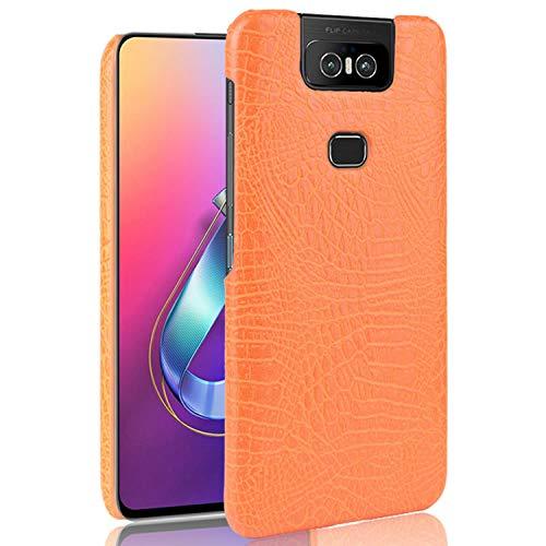 HualuBro Handyhülle für Asus Zenfone 6 ZS630KL Hülle, Premium PU Leder Hardcase [Ultra Dünn] Lederhülle Tasche Schutzhülle Hülle Cover für Asus Zenfone 6 ZS630KL 2019 (Orange)