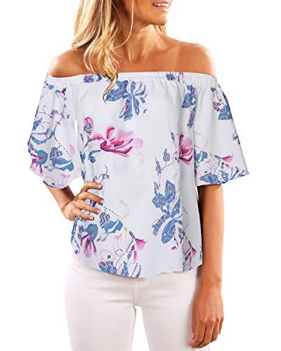 CNFIO Blusa casual de manga corta con estampado de flores y