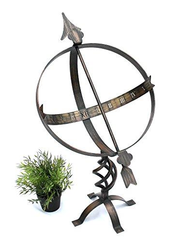 DanDiBo Sonnenuhr Garten Uhr aus Metall Schmiedeeisen Wetterfest H-72 cm Bronzefarbe