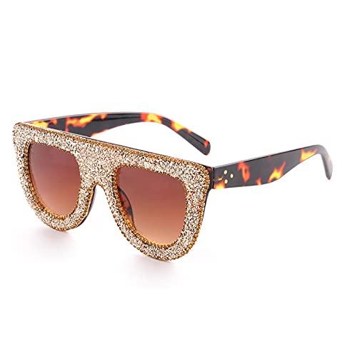 ShZyywrl Gafas De Sol De Moda Unisex Gafas De Sol con Forma De Ojo De Gato De Cristal para Mujer, Gafas De Mujer con Parte Superior Plana Transparente Y Platea