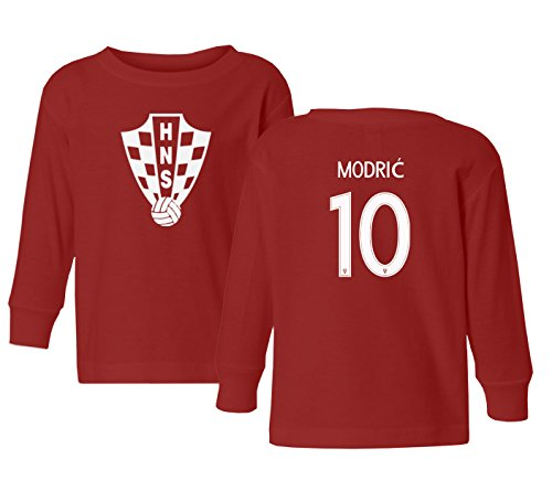 Tcamp Croatia 2018 National Soccer #10 Luka Modric World Championship Little Kids Girls Boys Toddler Long Sleeve T-Shirt (Red, 4T)