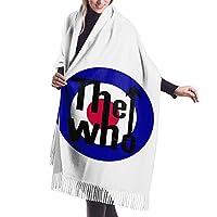 ザ·フー The Who ロゴ フリンジマフラー ネックウォーマー 防寒 ロング スカーフ 多機能 大判 肌に優しいストール 厚手 無地 静電気防止加工 スーツに合うビジネスカ ジュアル 男女兼用