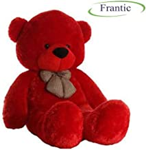 Frantic Soft Plush Fabric Cherry Red Teddy Bear with Neck Bow - 5 Feet (150 cm)